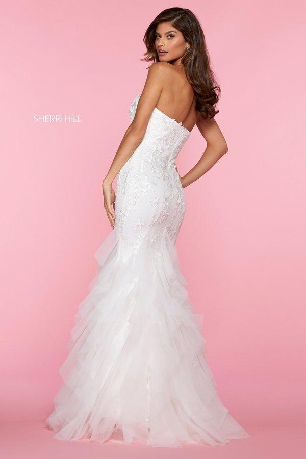 Sherri Hill  53346 Strapless Lace Bodice Mermaid Tulle Dress