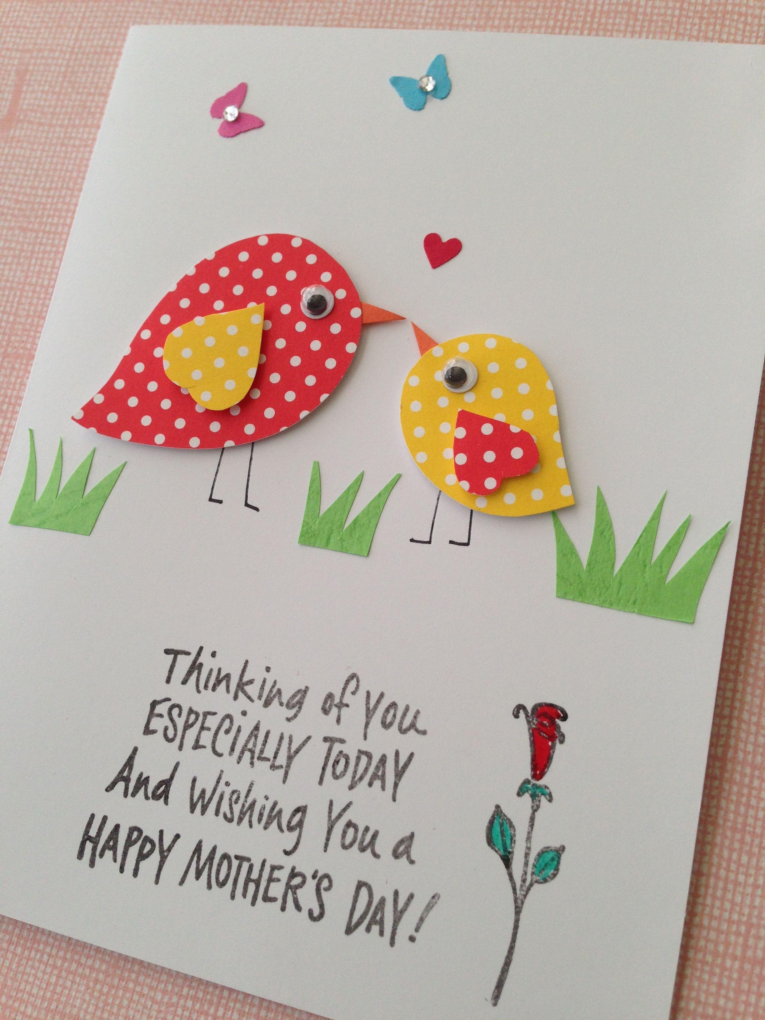 Cute birdie mothers day card cards handmade