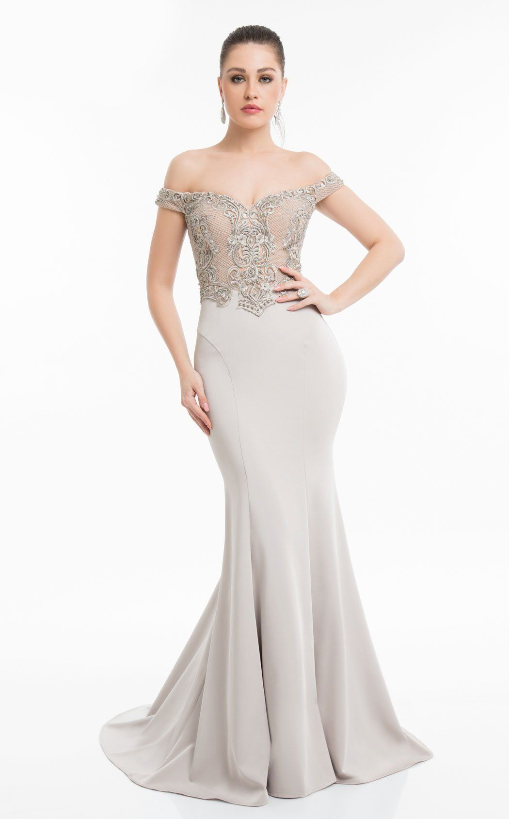 29a55d98259 Terani Couture Off-The-Shoulder Stones Detail Evening Dress ...