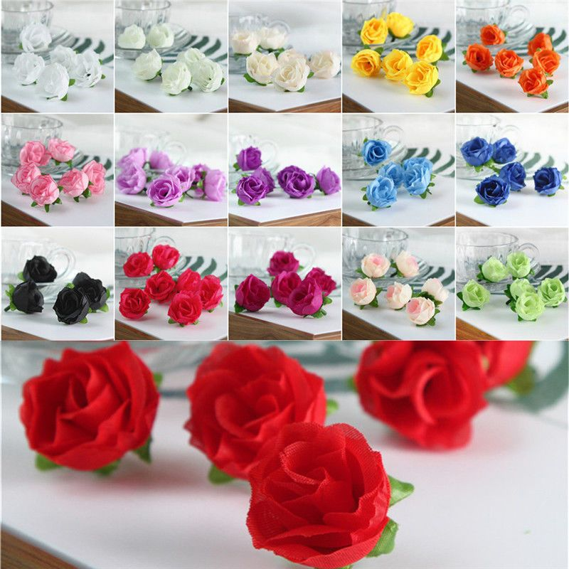 Artificial Silk Tea Rose Flowers Small Fake Bud Bouquet For Wedding Party Decor
