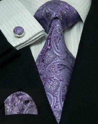 100/% Pure Silk Neck Tie Cufflink /& Handkerchief Set Purple with Silver Diamonds