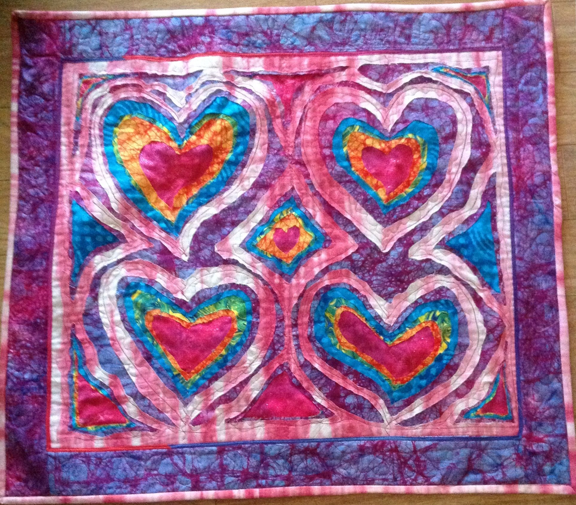 My layered heart quilt. Stitch and slash method.   quilting ... : slash quilt - Adamdwight.com
