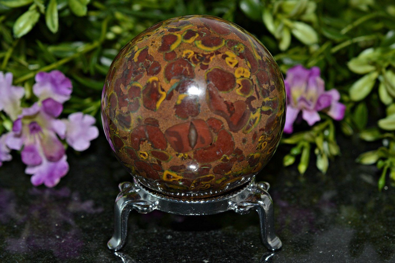 Top Quality Picasso Jasper Sphere, 58 MM   Crystal sphere ...