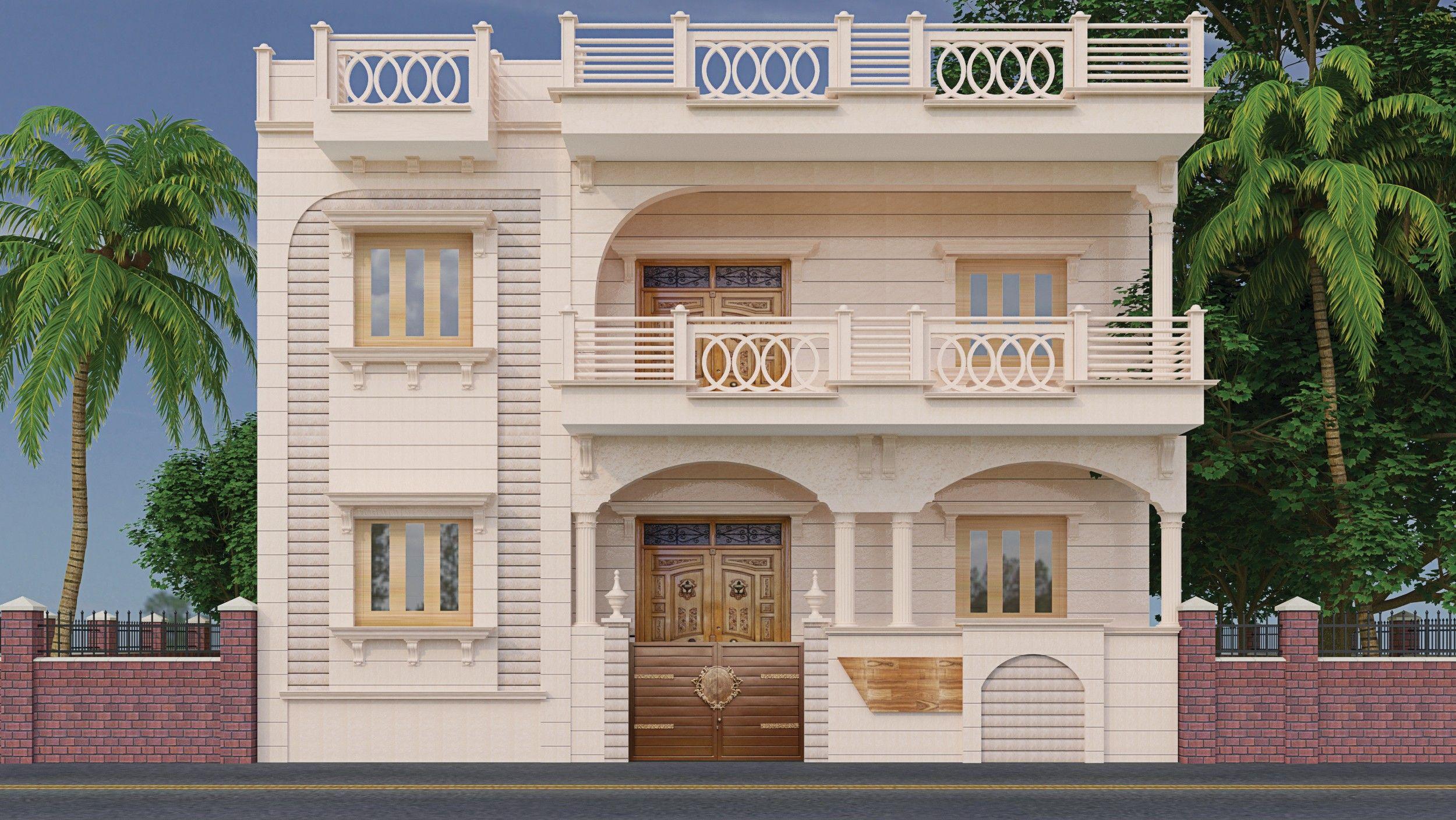 Jodhpur Stone Elevation Kerala House Design House Front Design Duplex House Design