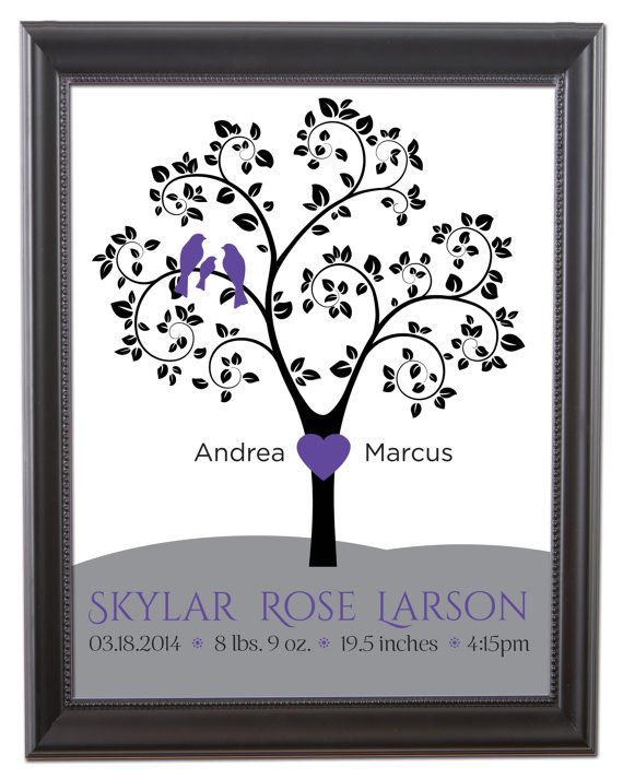 """Family Tree with birds in purple! """"Birth Statistic"""""""