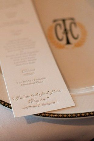 Borrow a line or two from The Bard: | 31 Beautiful Ideas For A Book-Inspired Wedding