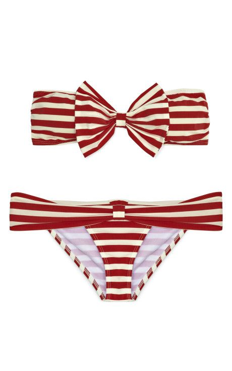 Bikini with red stripes and a bow