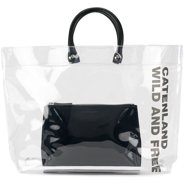 Dsquared2 Clear Tote Bag With Slogan 275 Aud Liked On Polyvore Featuring Bags Handbags White Handbag Pouch