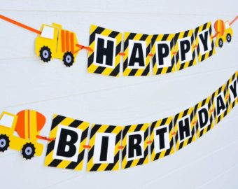 Items Similar To Construction Birthday Banner Party Dump Truck On Etsy