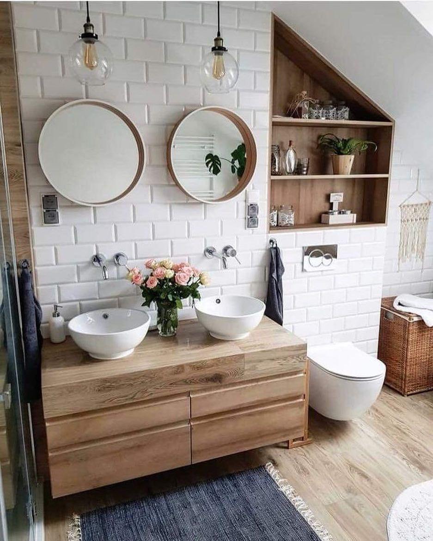 """Photo of Estilo Escandinavo by Mapi on Instagram: """"Buenos días!! Vamos a ver qué tal se nos da la semana!?Os dejó este inspirador baño, con un precioso lavabo, con dos lamparas y dos espejos…"""""""