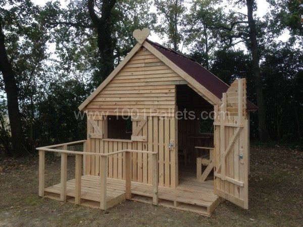 Pallet cabin clubhouse build your own 19 pallets for Kids cabin playhouse