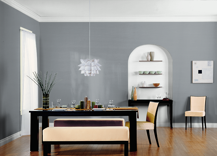 This Is The Project I Created On Behr Com I Used These Colors Smokey Lilac Ppu26 20 Dark Pewter Ppu18 04 Silky White Ppu7 12 S Home Dining Room Paint Room