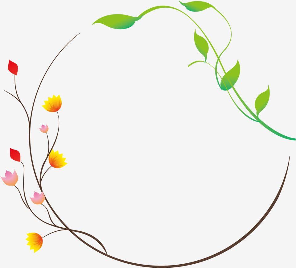Round Border Design Flower Vine Design Fresh Small Flowers Small Leaf Design Tree Vine Design Hand Painted Border Cartoon Border Png And Vector With Transpar Bunga Daun Png