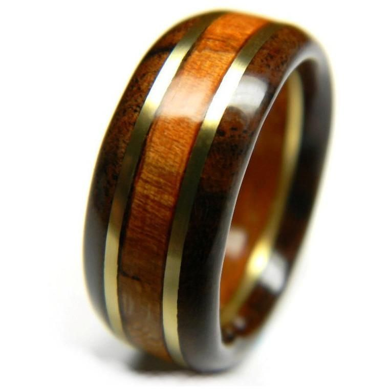 Handsome wood wedding ring walnut and cherry wood