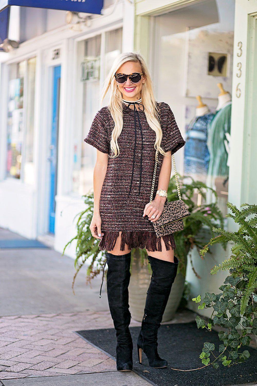 04be087274157e ... knee thigh vandi-fair-blog-lauren-vandiver-dallas-texas-southern -fashion-blogger -astr-margo-fringe-shift-hem-dress-wine-over-the-knee-black-boots-3