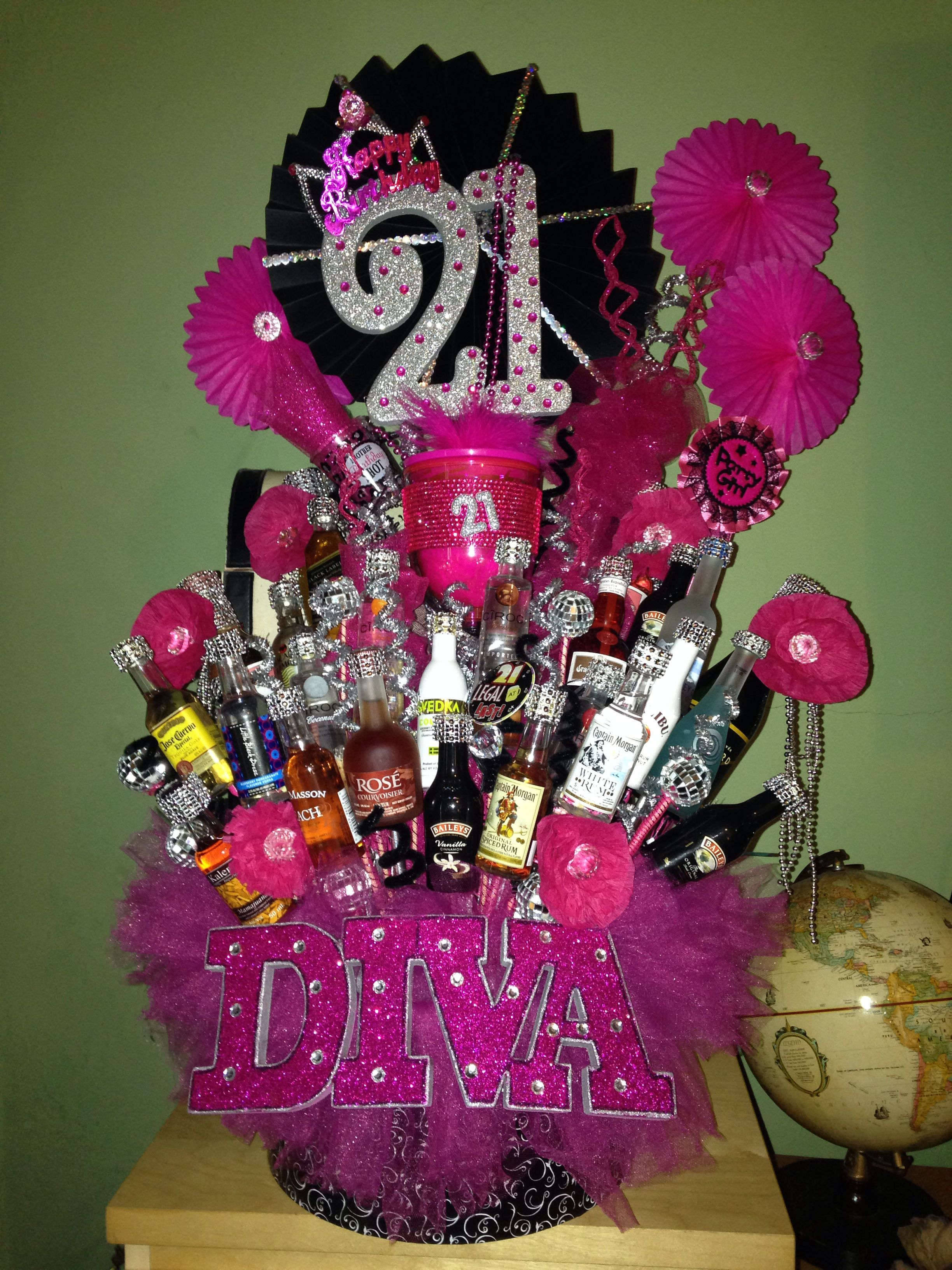 21st birthday liquor basket Diy 21st birthday gifts