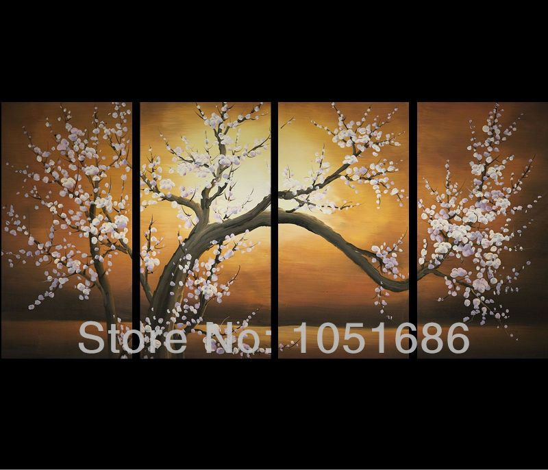 Hand Painted 4 Piece Modern Chinese Abstract Art Cherry Blossom Tree Painting Set Wall Decor Canvas Cherry Blossom Painting Flower Canvas Art Flower Prints Art