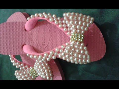 Chinelo decorado - manta de pérolas peep toe - YouTube