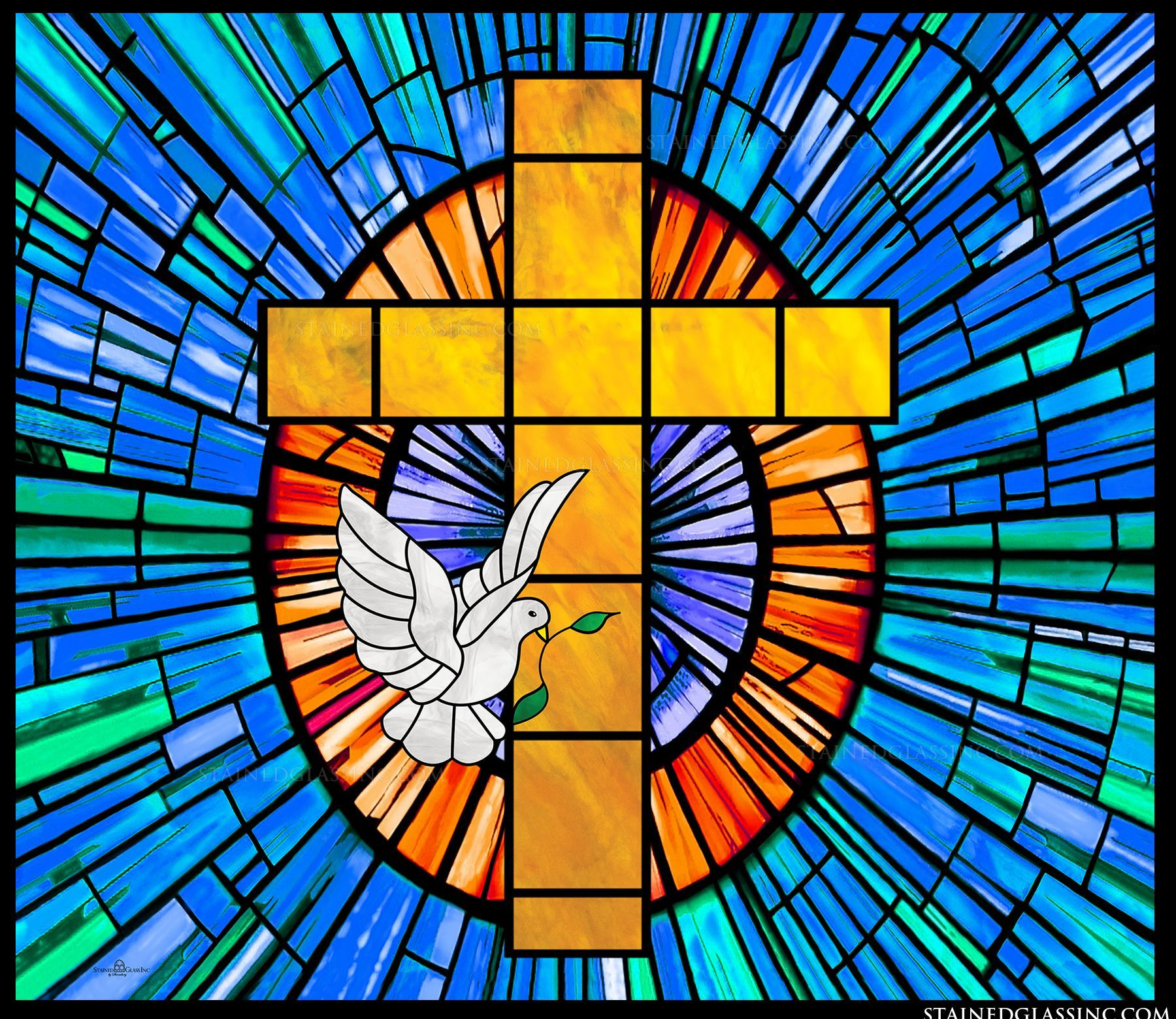 "Holy Cross with Dove"" Religious Stained Glass Window ..."