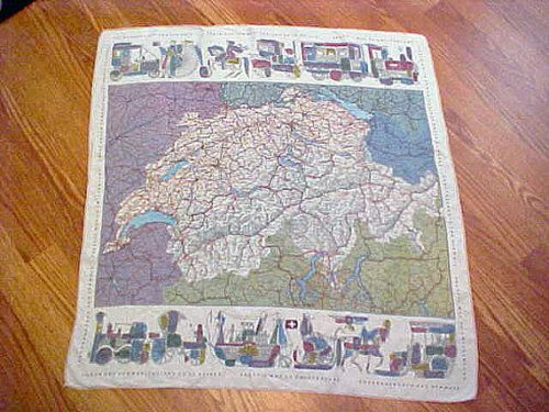 Vintage Switzerland map scarf