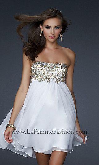 Short Strapless White & Gold Dress by La Femme - Style: LF-17107 ...