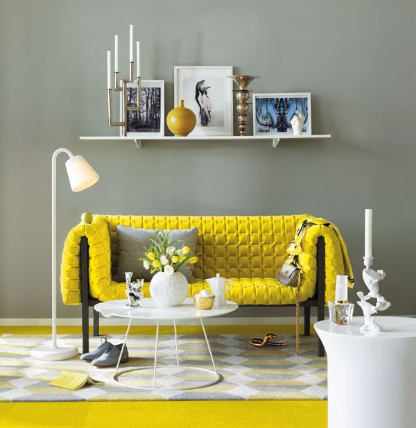 yellow / gray living room