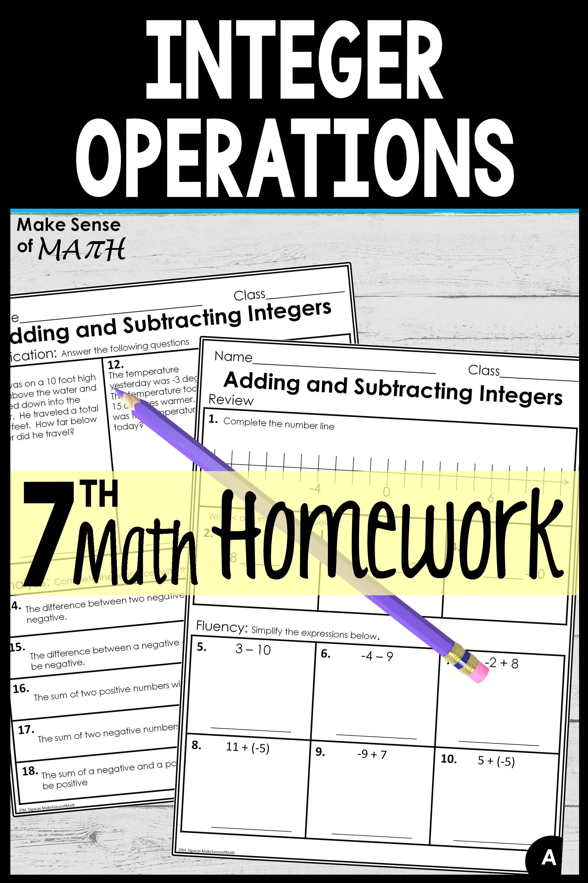 Adding And Subtracting Integers Worksheets