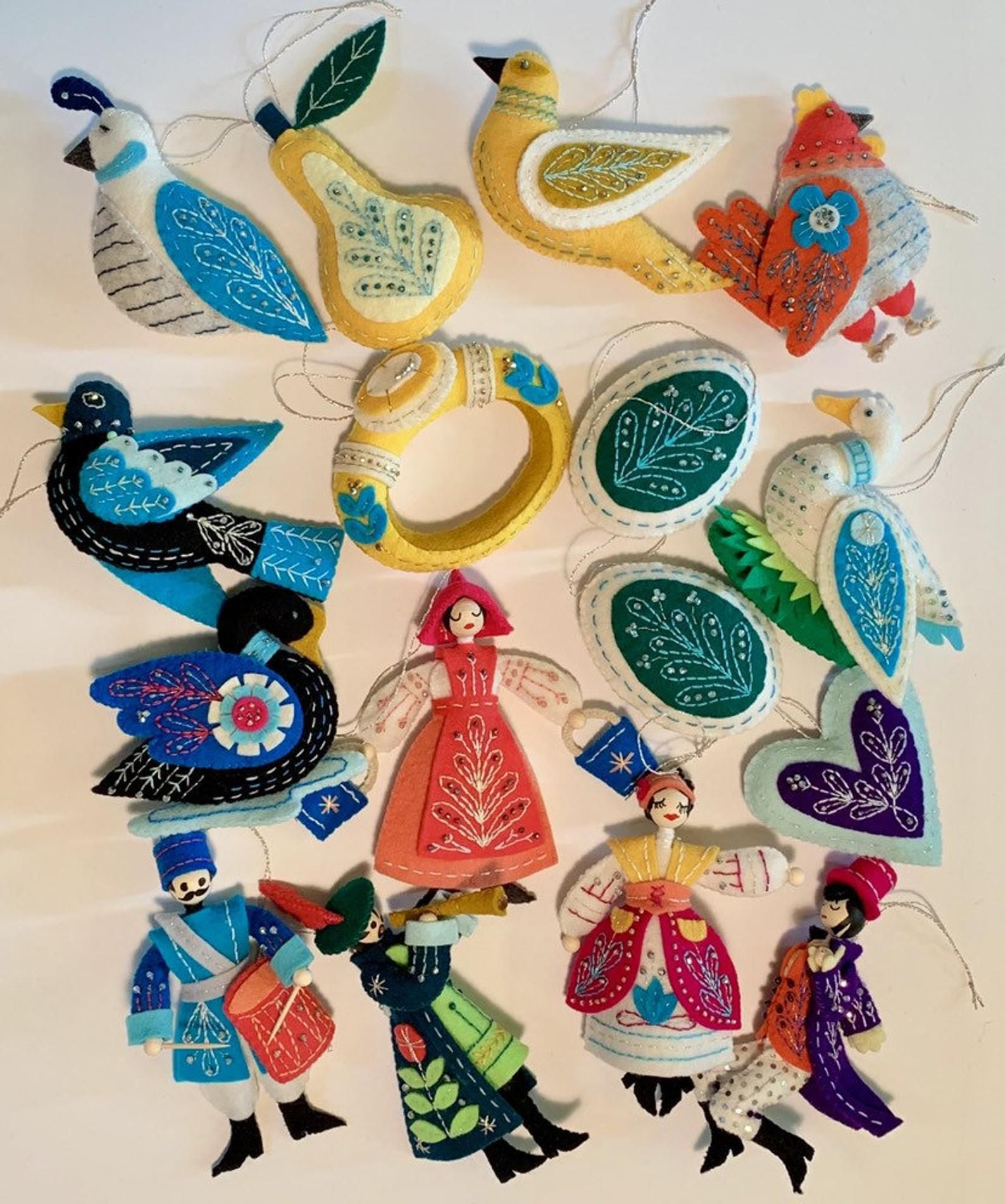 Ready To Ship 12 Days Of Christmas Ornaments Handmade Felt And Czech Beaded Holiday Brights Set Of 15 Style 006 Handmade Christmas Ornaments 12 Days Of Christmas Felt Ornaments