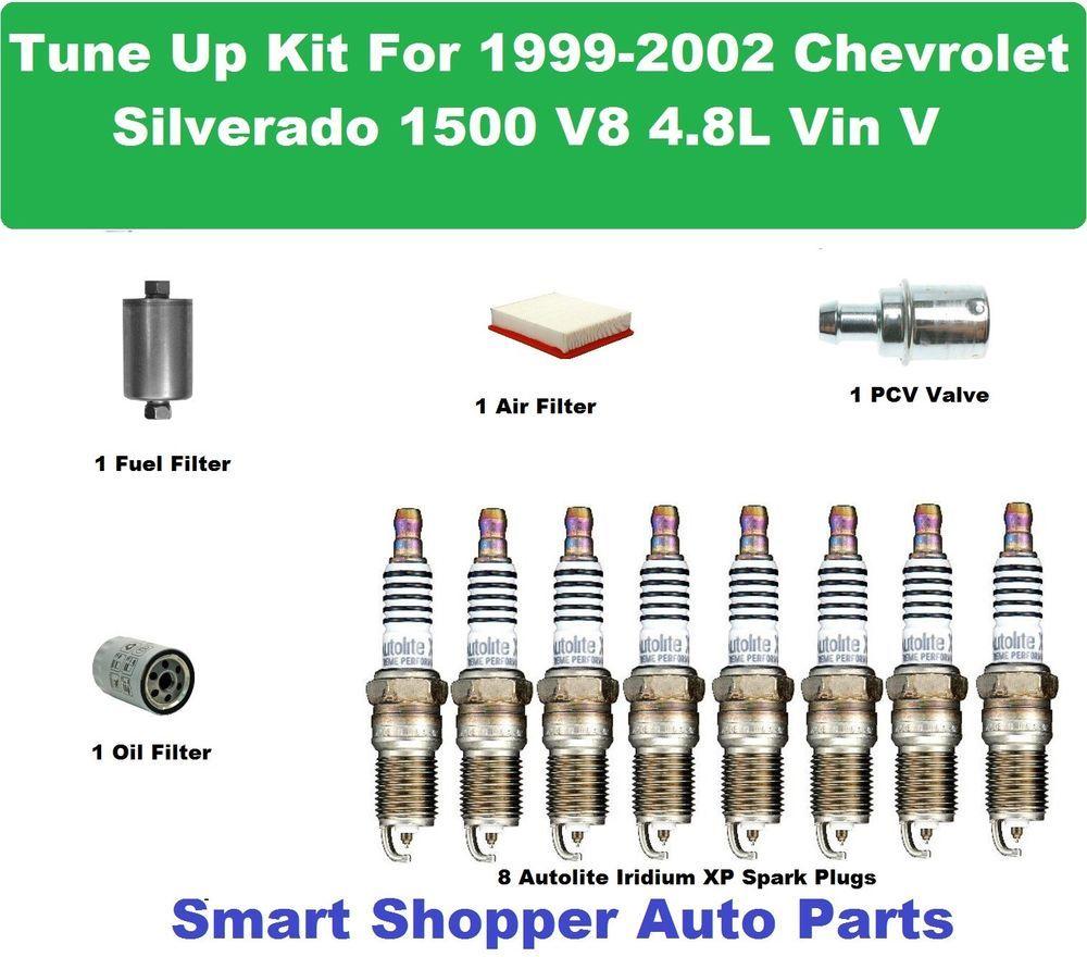 Tune Up Kit For 99 02 Silverado 1500 Vin V Spark Plug Oil