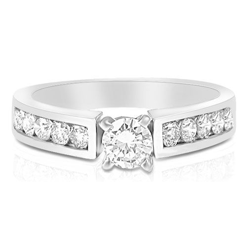 Present yourself with our luxuriant 14KT white gold diamonds engagement ring. Composed with 1.00CT round cut breathtaking diamonds . This engagement ring features exquisite diamonds of I-J color and  VS2-SI1 group clarity. Shine with elegance and simplicity with our 14KT white gold diamonds engagement ring.