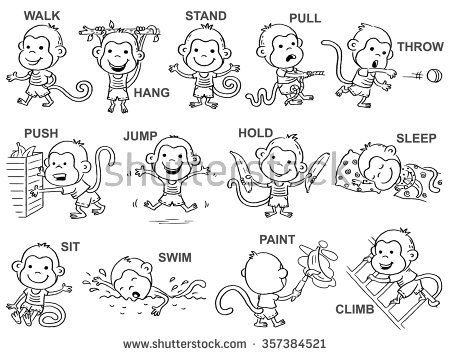 Verbs Of Action In Pictures Cute Monkey Character Black And White Outline Action Verbs Verbs For Kids Verb Worksheets