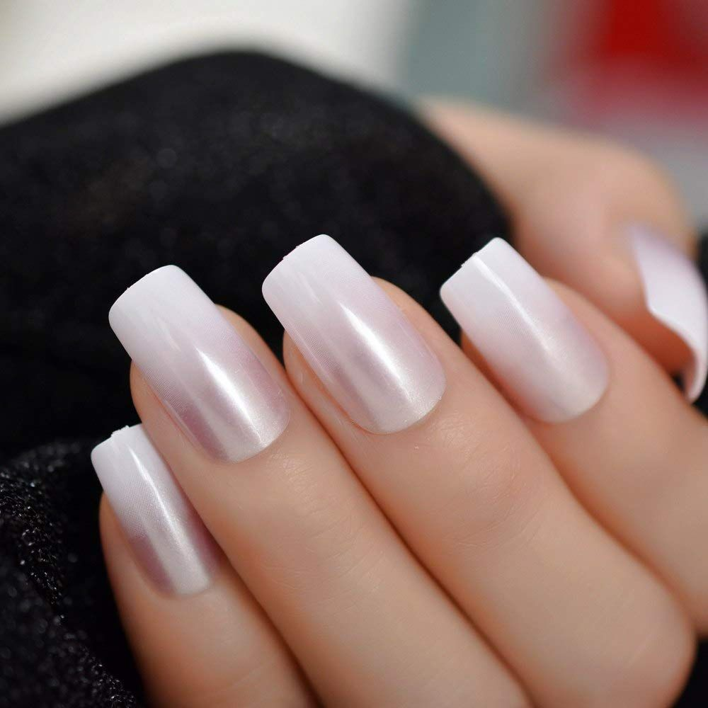 EchiQ Gradient Pearl Pink French False Nails Manicure
