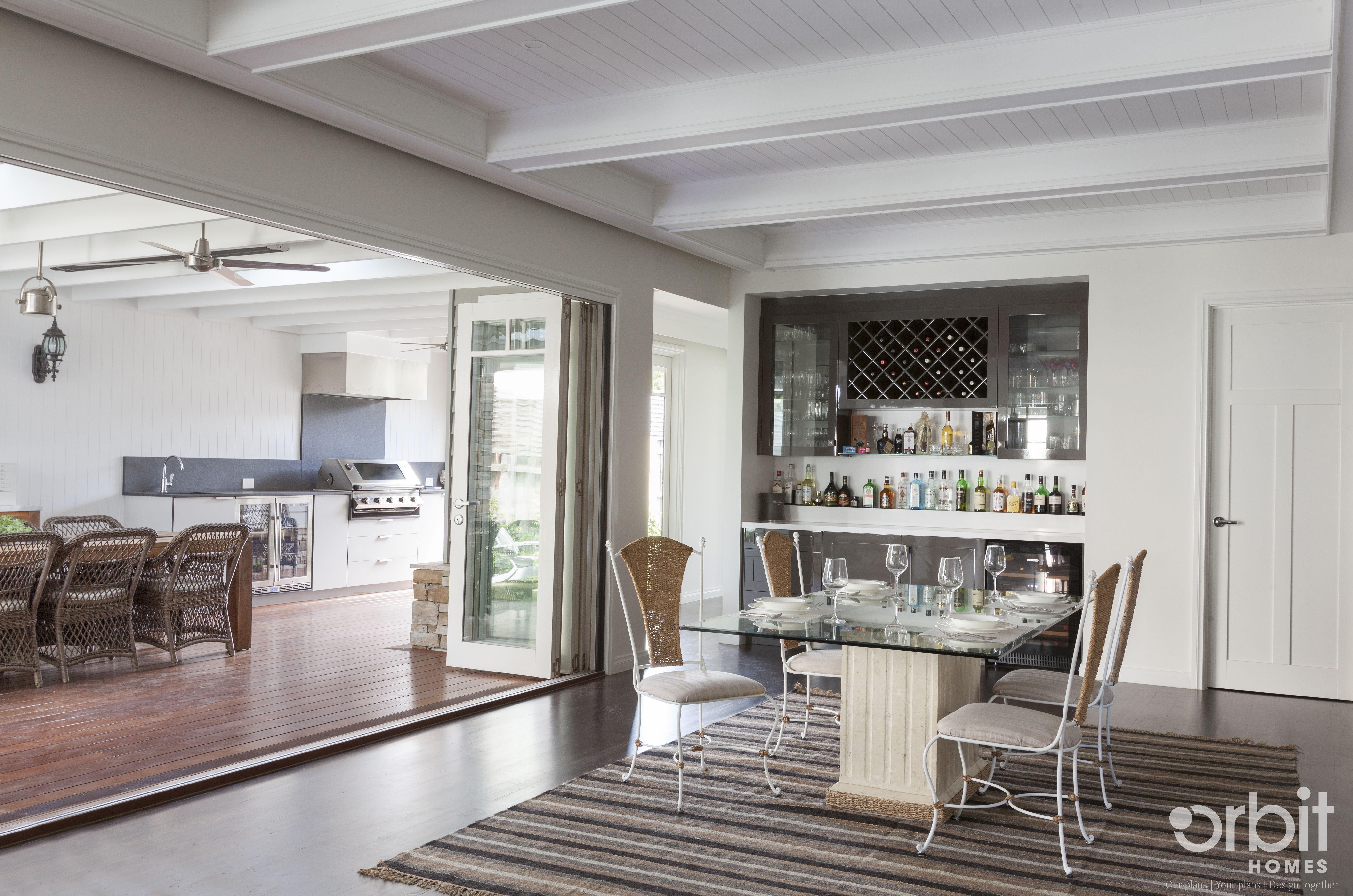 Orbit homes home builders - Hamptons Style Open Plan Living Area With Dining Area Opened Out Onto The Alfresco