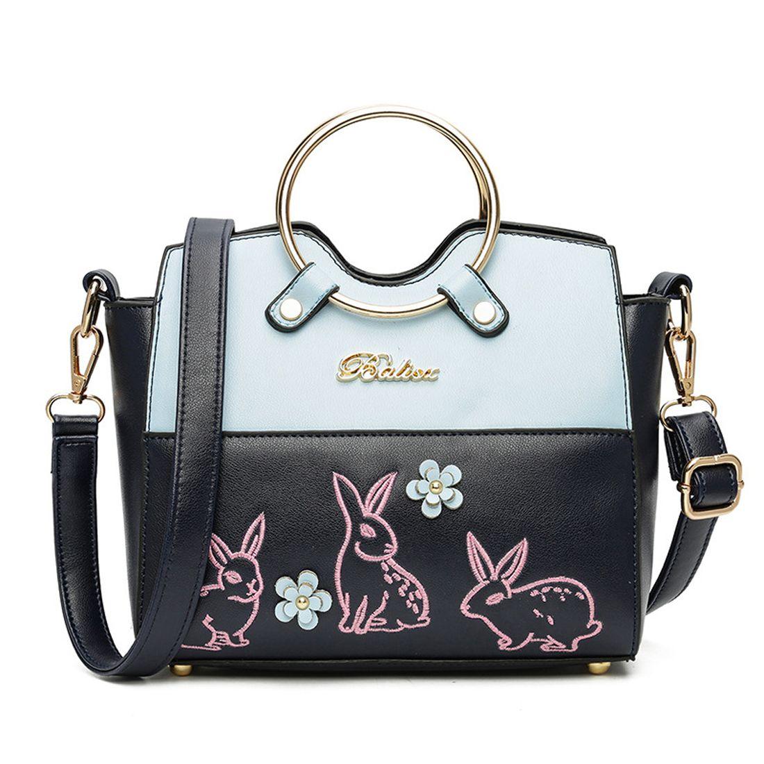 2017 Luxury Handbags Women Bags Designer Rabbit Embroidery Handbag Circle Handle Bag Shoulder Messenger Cross Body
