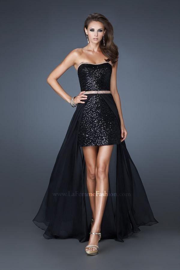 Vestido negro corto adelante largo atras