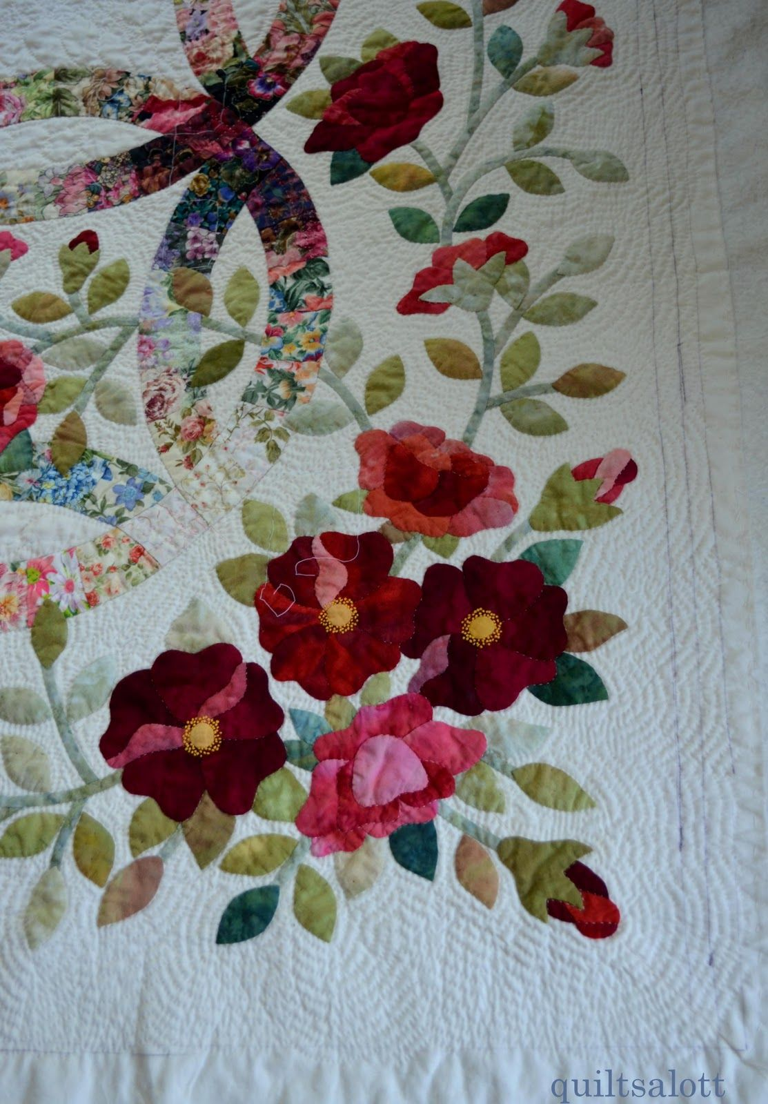 beautiful applique work. quilts are always intricate and