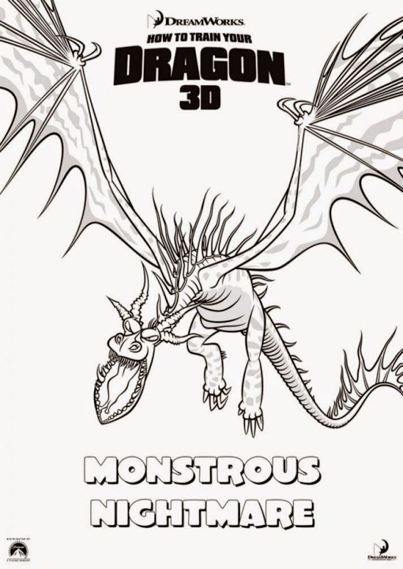 How To Train Your Dragon Coloring Pages Monstrous Nightmare How Train Your Dragon How To Train Your Dragon Train Coloring Pages