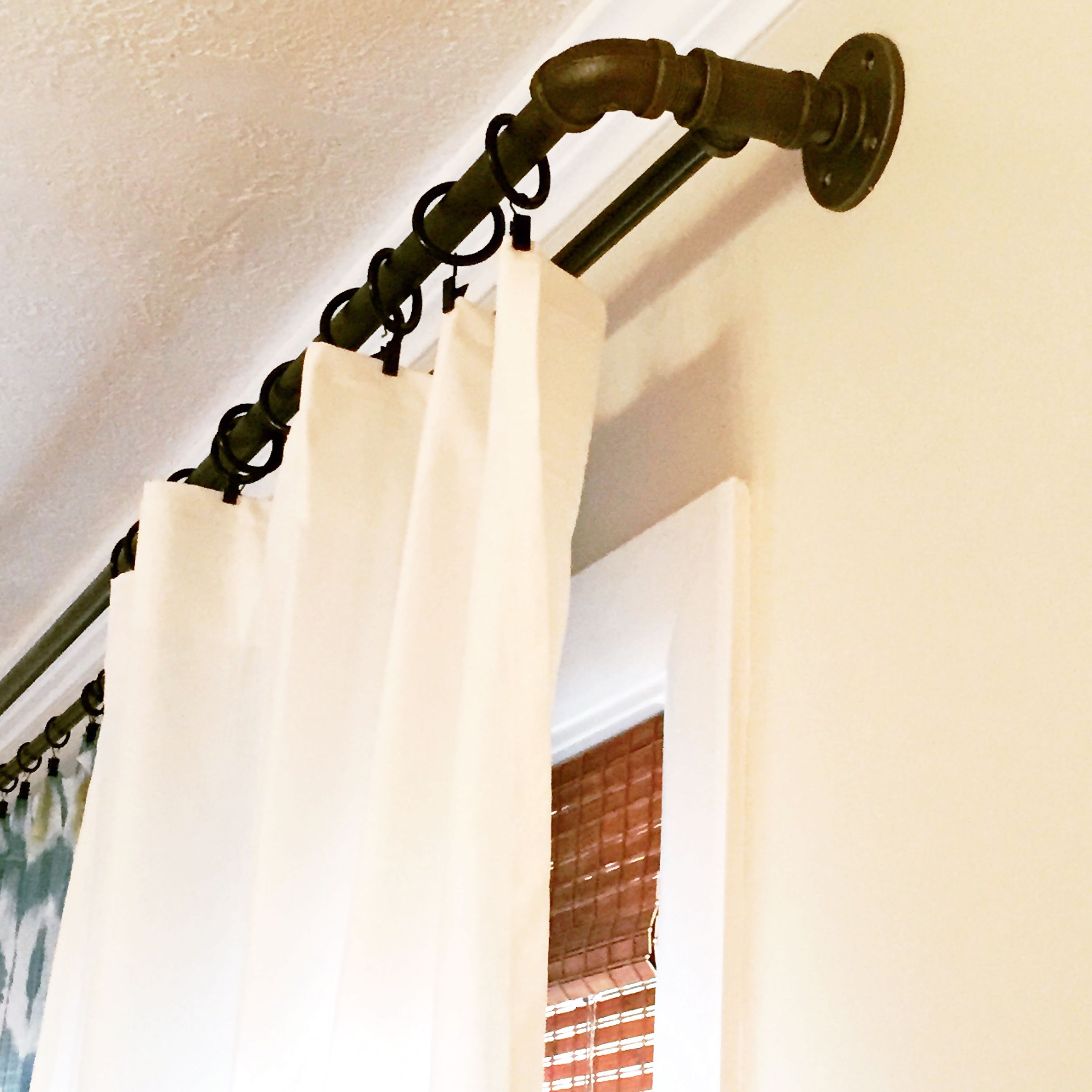Diy Industrial Style Double Curtain Rod Pipe Fittings
