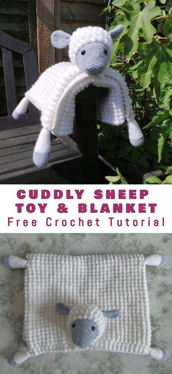 Cuddly Sheep Baby Toy Pram Blanket Free Crochet Pattern #crochettoys