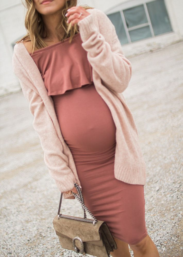 blush pink maternity dress