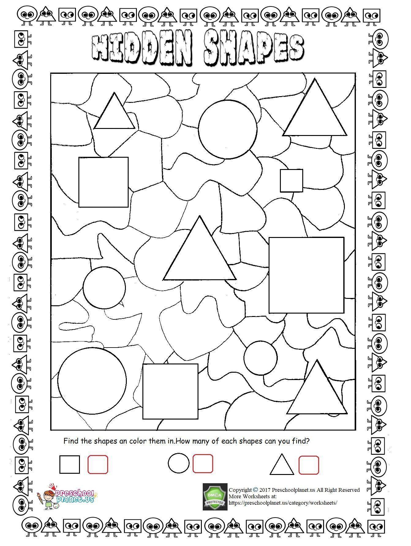 Math Hidden Picture Worksheets Hidden Shapes Worksheet