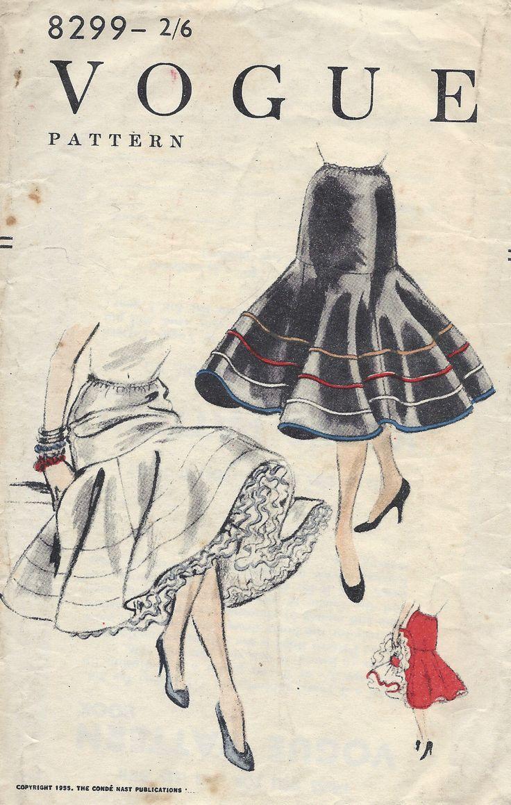 1955 Vintage Vogue Sewing Pattern 8299 Skirt Petticoat Elastic Waist ...