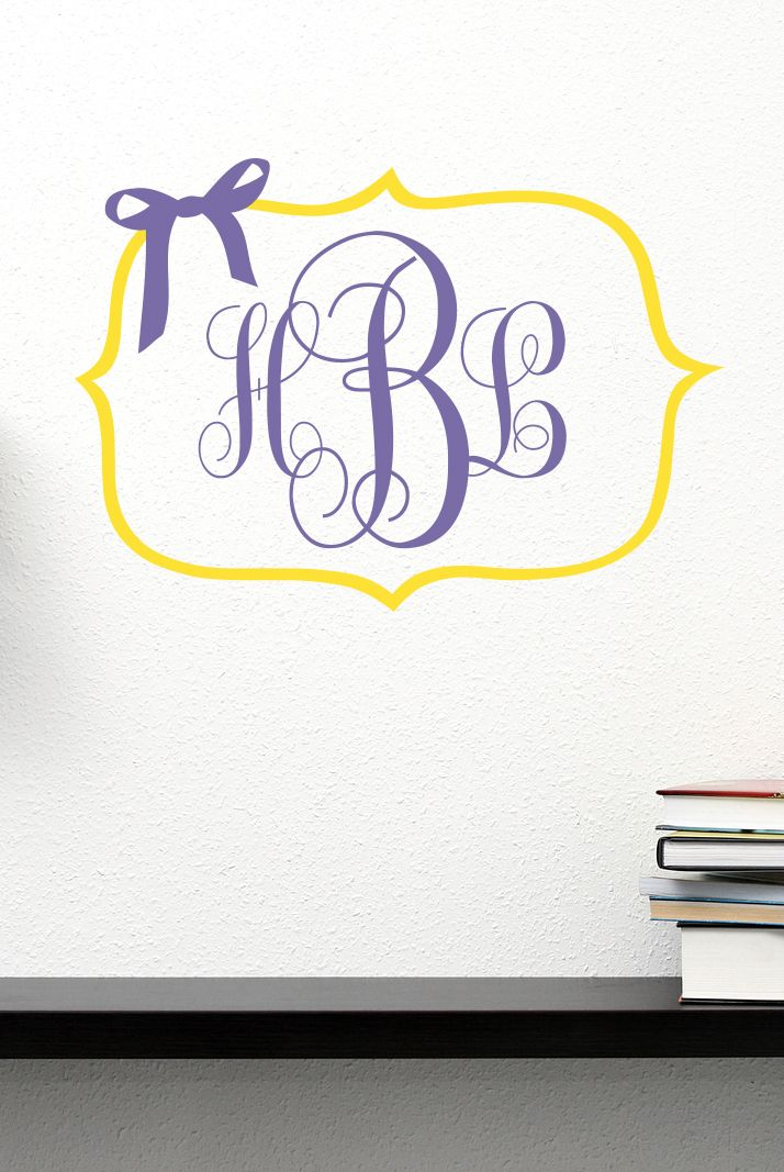 monogram initials with bow & border vinyl wall decal | monogrammed
