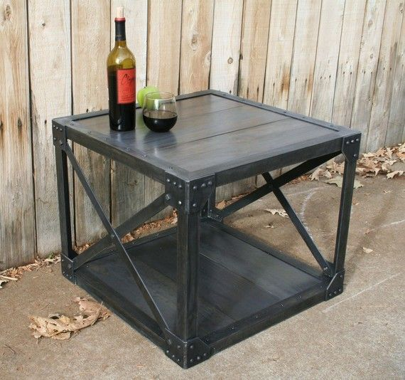 Industrial Unique Metal Designer Coffee Table: Handmade Wood & Scrap Metal Industrial Coffee Table