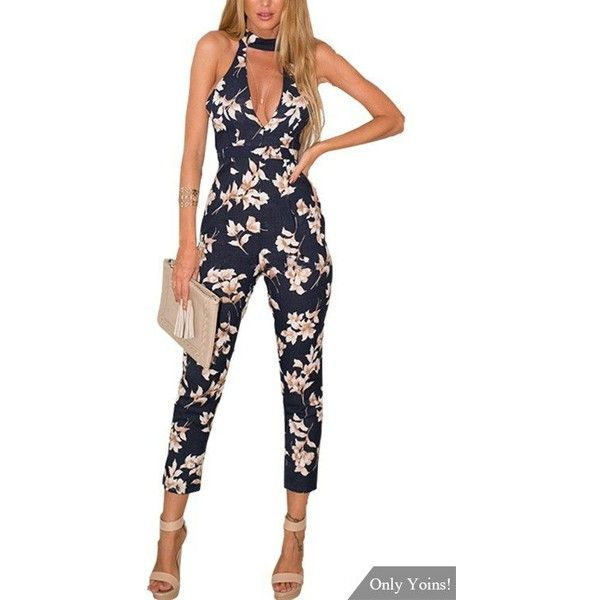Yoins Navy Floral Print Sleeveless Choker Jumpsuit with Open Back (8.900 HUF) ❤ liked on Polyvore featuring jumpsuits, sexy jumpsuits, long jumpsuits, navy blue jumpsuit, white jump suit and white open back jumpsuit