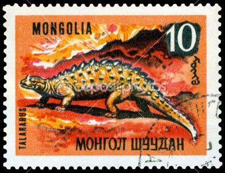 Vintage  postage stamp. Dinosaurs