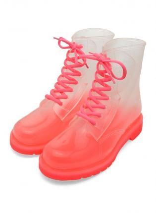 Pink Jelly Ombre Rain Boots by ChicWish