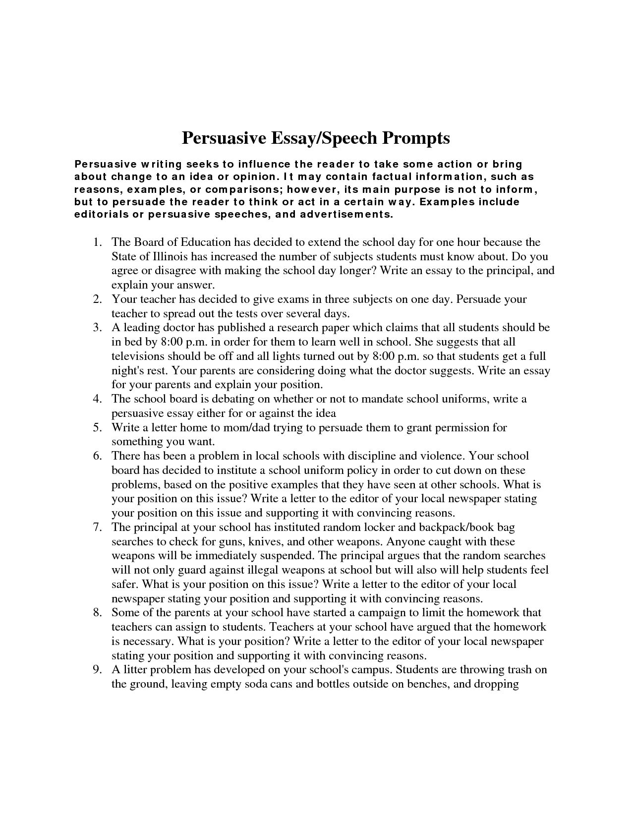 Persuasive Essay Topics For High School Persuasive And Argumentative Writing Examples Of Persuasive Essays For High School also Good Science Essay Topics Persuasive And Argumentative Writing  Argumentative Essay  Essay Topics For High School English