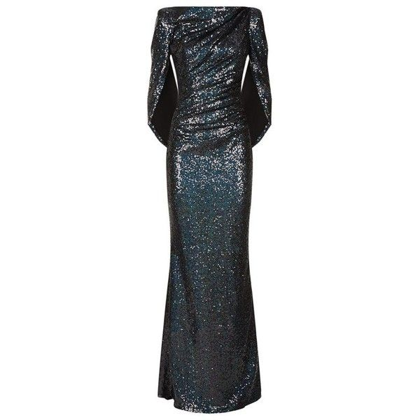 Talbot Runhof Stretch Sequin Cape Gown (6.170 BRL) ❤ liked on Polyvore featuring dresses, gowns, long dress, cape, high neck formal dresses, sequin gown, sequin dress, formal gowns and long dresses