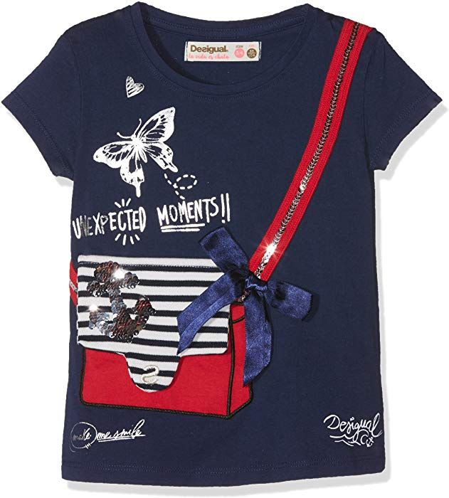 Desigual Girl S Ts Earwig T Shirts Blue Navy 5000 128 Size 7 8 Amazon Co Uk Clothing Shirts Desigual T Shirt
